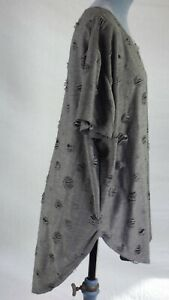Voyelles Grey Fine Knit Hi Low Spotty Ripped Short Sleeve Jumper Blouse One Size