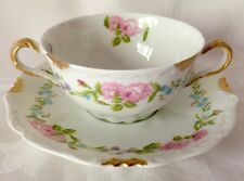 SUPERB LIMOGES BOUILLON CUP & SAUCER, CHARLES AHRENFELDT, PINK ROSES, GREAT COND