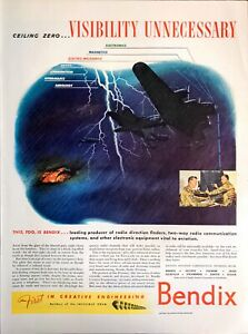 1944 WWII Print Ad Bendix Radio Direction Radio Communication Vital Aviation