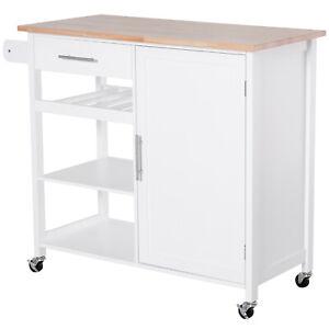 Küchenwagen Schublade Küchenschrank Rollwagen mit Weinregal Massivholz Weiß