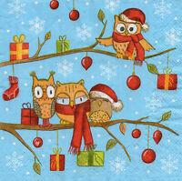 4 Motivservietten Servietten Napkins Tovaglioli Weihnachten Eulen (1021)