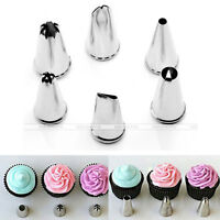 6 pcs Stainless Steel Icing Piping Nozzles Pastry Tip Cake Decorate Tool Set Kit
