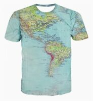 New Fashion Men's T-shirt 3D Print Maps Slim Fit Short Sleeve Summer Tops Tees