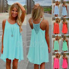 Damen Sommer Strandkleid Chiffon Partykleid Minikleid Tops Sommerkleid Sexy