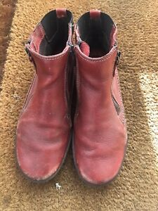 Easy n Rose Red Real Leather Side Zip Chelsea Ankle Boot Size 37 Uk 4