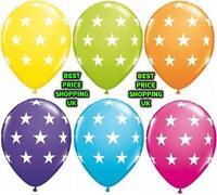"MIX COLOUR 100 X 12"" Latex HELIUM POLKA DOT BALOONS STAR PRINTED Party Balloons"