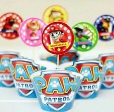 24 pics PAW PATROL CUPCAKE TOPPERS & WRAPPERS  PARTY SUPPLIES CHASE
