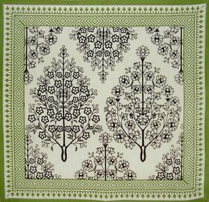 "French Floral Print Cotton Napkin 17"" x 17"" Olive & Black"