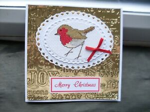 HAND MADE COMPLETED CROSS STITCH  CARDS XMAS ROBIN