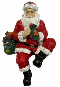 Vintage Seated Santa Claus with Bear Fireplace Christmas Figure Holiday Decor