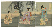 Chikanobu Yoshu, belleza, impresión xilografía japonesa, ukiyo-e