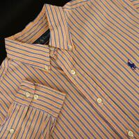 Mens Polo Ralph Lauren Classic Fit Orange Golf Dress Shirt Size 16 32/33 Large