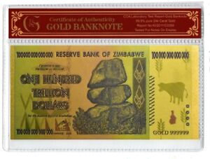 100 TRILLION ZIMBABWE DOLLAR BANKNOTE 24 CARAT GOLD LEAF COLLECTABLE GIFT NOTE