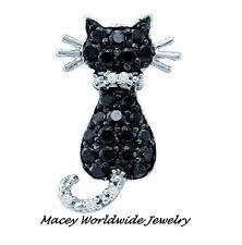 10K WHITE GOLD TWILIGHT BLACK & WHITE DIAMOND FRISKY CAT NECKLACE PENDANT .35CT