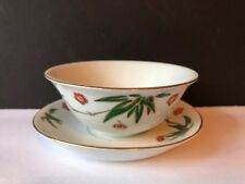 Vintage Set Of 5 Tea Cups And Saucers Red and Green Flowers - Made In China