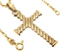 Unisex 9ct 9carat Yellow Gold Patterned Cross Pendant & Belcher Chain