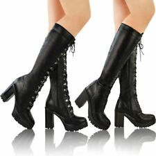 Ladies Womens Chunky Block Heel Cleated Sole Lace Up Goth Punk Knee High Biker