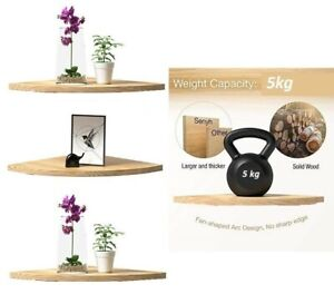 Natural Wood Wooden Corner Shelf Shelves Kit Display Storage Unit Wall Mounted