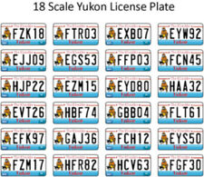 YUKON LICENSE PLATE DECALS FOR 1:18 SCALE CARS