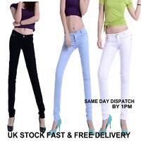 Womens Ladies Fashion Mid Waisted White,Black Skinny Fit Denim Jeans Vincenza UK