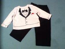 Easter Size 12 mo Little Me faux suit shirt black dress pant formal