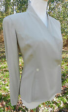 ANNE KLEIN II Petites Taupe Silk LS Blouse V Neck Crossover Sz 6 NWT MSRP $165