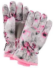 New OshKosh Ski Gloves Winter Glove size 7-14 year Kid Girl NWT Gray Pink Floral