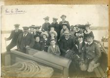 France, Bretagne, Photo de groupe sur la Rance, ca.1900, vintage silver print Vi