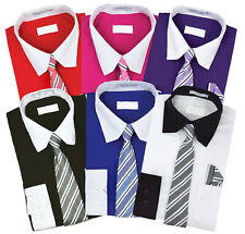 Boys Two Toned Dress Shirt Matching Tie & Hanky Toddler Kids Button Up Set
