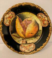 "Raymond Waites For Toyo Decorative Black Painted Fruit Motif ~ Pomegranate 10"""