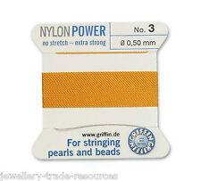 Ámbar amarillo Nylon Potencia sedoso Hilo 0,50 Mm Encordar Perlas Y Cuentas Griffin 3