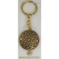 Damascene Gold Star of David Design Round Keychain by Midas of Toledo Spain
