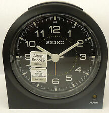 SEIKO - BLACK METALLIC FACE WITH- QUIET SWEEP ALARM CLOCK WITH SNOOZE QHE085KLH