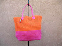 Hot Pink & Orange Straw Shopper Beach Gym Tote Bag  Handbag  Purse Big Large New