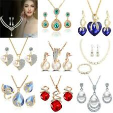Women Silver Gold Crystal Pearl Necklace Earrings Wedding Jewelry Sets For Gift