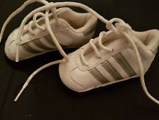 BABY ADIDAS PRAM SHOES TRAINERS WHITE / SILVER SIZE 2