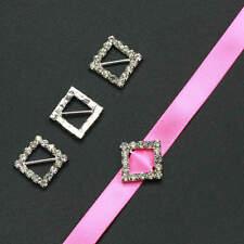 50 Square Diamante Rhinestone Buckle Invitation Ribbon Slider Wedding Decor Gift