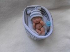OOAK artist miniature 3.5 cm  polymer  clay  blue baby doll  1/12th by HARRY