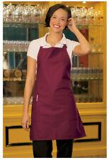 "Bib Apron, 2 Pockets, Adjustable Neck, Color: Burgundy, Size: 23""W x 30""L - 3016"