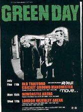 "GREEN DAY 2002 tOUR UK FLYER / mini Poster 8x6"""