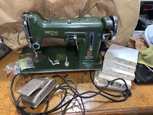 VTG NECCHI BU NOVA Sewing Machine w/Extras ITALY