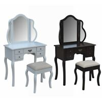 Homegear Venetian 5 Drawer Dressing Table, Tri-fold Mirror & Stool Set