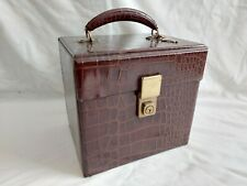 "Vintage Faux Snakeskin 7"" Vinyl Singles Record Carry Case Storage BoxWith Keys"