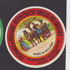Ancienne étiquette fromage Hollande  BN18821  Cariole Cheval Gouda