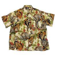Vintage Gitman Bros Linen Cotton Hawaiian Shirt Size XL Made In USA Fish
