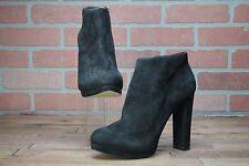 Michael Kors Haven Black Shoes 9.5M Ankle Suede Zip-Up Booties $195