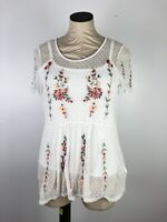 Grand And Greene Top Small Ivory Floral Embroideded Swissdot Mesh Lace Roses