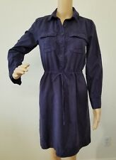 J Crew Blue Sz 2 Drawstring Waist Button Front Long Sleeve Shirt Dress