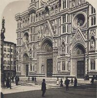 Firenze Il Duomo Façade Italia Stereo Vintage Analogica Ca 1920