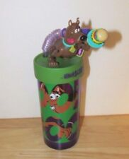 Scooby Doo plastic insulated tumbler straw drinking cup moving parts NEW scuffs